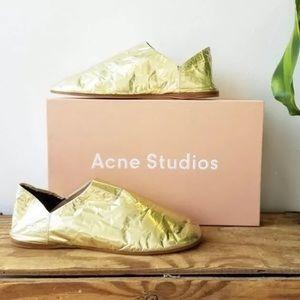 New Acne Studios Gold Foil Shoes Size 37